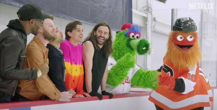 """""""Queer Eye""""'s the Fab Five with Phillie Phanatic and Gritty."""