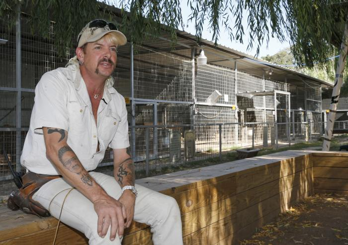 Joseph Maldonado-Passage, also known as Joe Exotic, answers a question during an interview at the zoo he runs in Wynnewood, Okla.