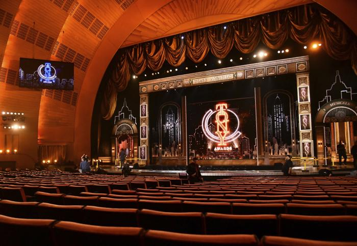 A view of the stage appears prior to the start of the 73rd annual Tony Awards at Radio City Music Hall in New York on June 9, 2019.