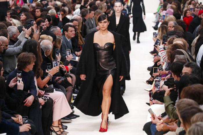 A model wears a creation for the Valentino fashion collection during Women's fashion week Fall/Winter 2020/21 presented in Paris. (March 1, 2020)