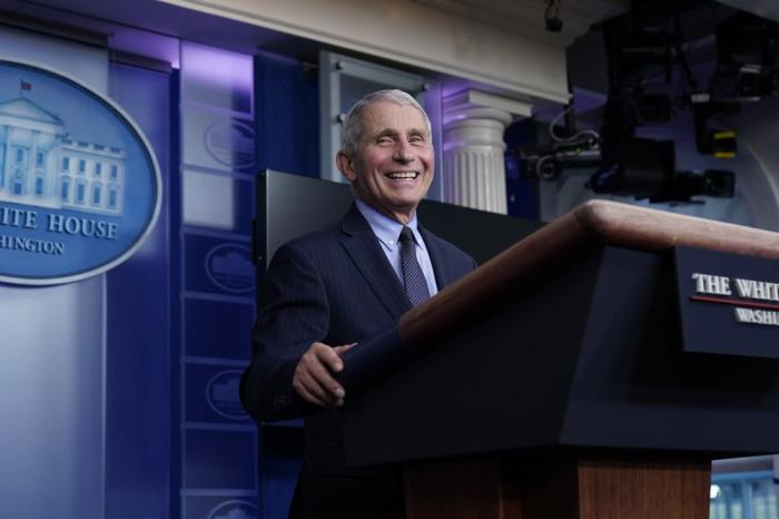 Dr. Anthony Fauci at a press briefing on Jan. 21, 2021sch