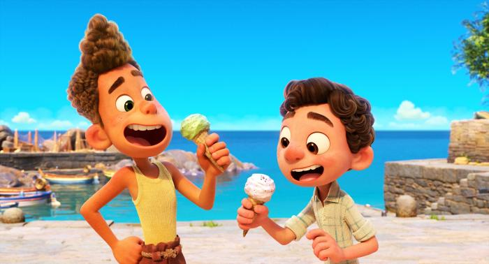 """Characters Alberto, voiced by Jack Dylan Grazer, left, and Luca, voiced by Jacob Tremblay in a scene from the animated film """"Luca."""""""