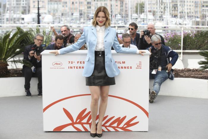 Lea Seydoux poses for photographers at the photo call for the film 'Oh Mercy' at the 72nd Cannes film festival.