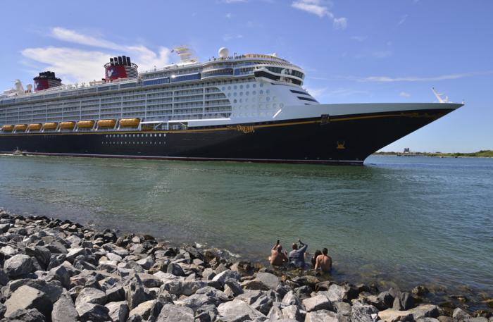 The Disney Dream sails out of Port Canaveral, Fla. on a two night test sailing, also known as a simulation cruise, Saturday, July 17, 2021.