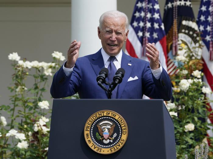 President Joe Biden speaks during an event in the Rose Garden of the White House in Washington, Monday, July 26, 2021, to highlight the bipartisan roots of the Americans with Disabilities Act and marking the law's 31st anniversary