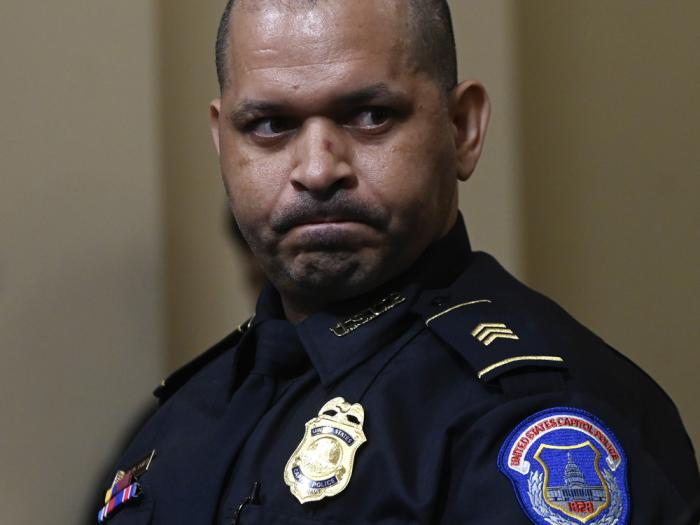 U.S. Capitol Police Sgt. Aquilino Gonell listens during a House select committee hearing on the Jan. 6 attack on Capitol Hill in Washington, Tuesday, July 27, 2021