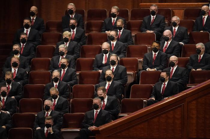 Members of the Tabernacle Choir at Temple Square look on during The Church of Jesus Christ of Latter-day Saints' twice-annual church conference Saturday, Oct. 2, 2021, in Salt Lake City.