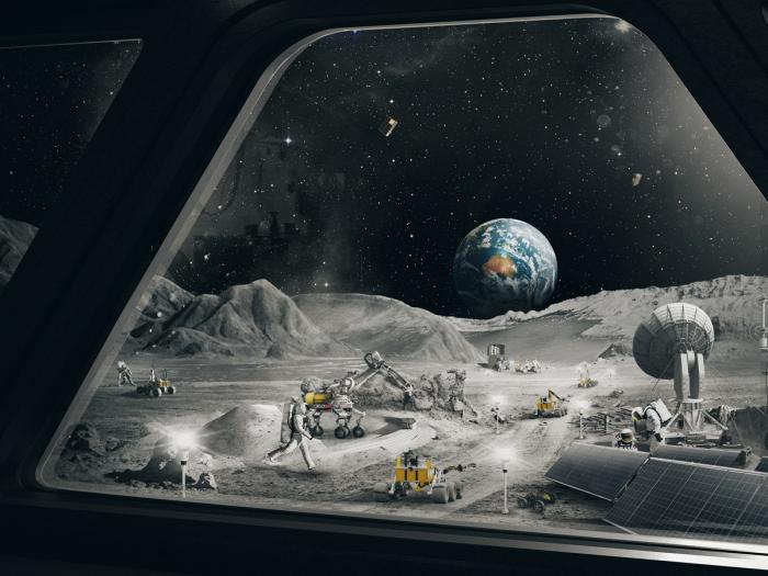 In this undated image released by the Australian Space Agency, an imagined scene on the moon is depicted