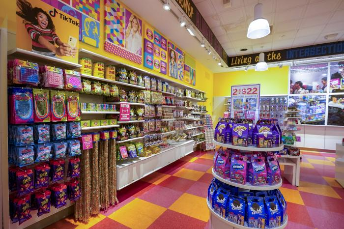 A column of candy, left, featured in TikTok videos is displayed at It'Sugar candy store, Wednesday, Oct. 6, 2021, on the Upper East Side of New York.